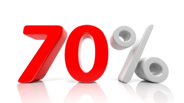 70 % symbole bleu isolé sur fond blanc. rendu 3d