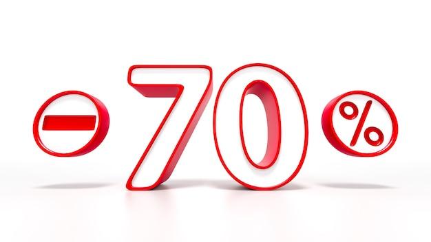 70 % symbole rouge isolé sur fond blanc. rendu 3d