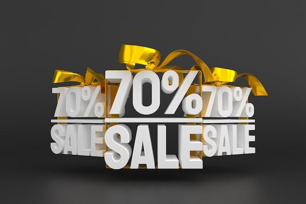 70 % De Vente Avec Un Arc Et Un Ruban 3d Design Sur Fond Vide Photo Premium