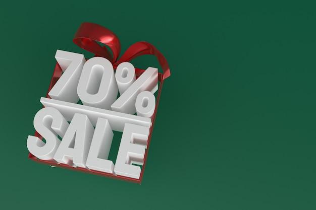 70 % de vente avec un arc et un ruban 3d design sur fond vide