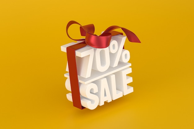 70% vente avec arc et ruban design 3d sur fond vide