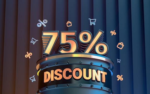 75 pour cent d'arrière-plan de réduction d'offre spéciale pour le rendu 3d de l'affiche de promotion des médias sociaux