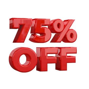 75% de rabais, offre spéciale, bonne offre, vente. soixante-quinze pour cent