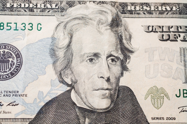 7e président des états-unis, andrew jackson portrait sur billet de vingt dollars, fond d'argent, avers de vingt dollars avant. fond de dollars, gros plan, amérique