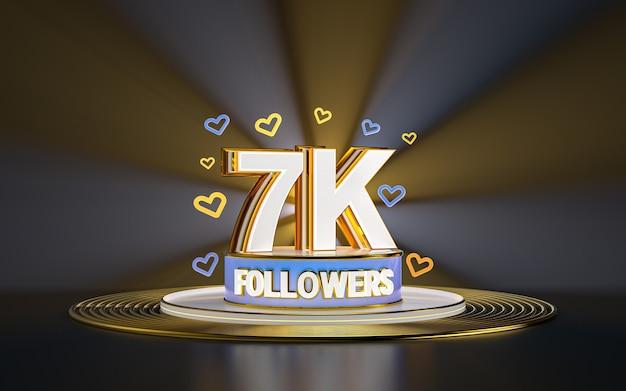 7k célébration des adeptes merci bannière de médias sociaux avec rendu 3d de fond d'or de projecteur
