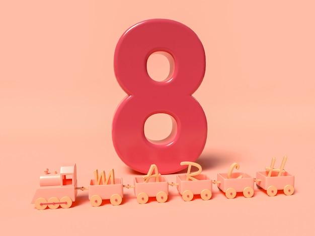 8 mars illustration 3d avec grand huit rouge et train avec mot de mars. concept de la journée internationale des femmes.