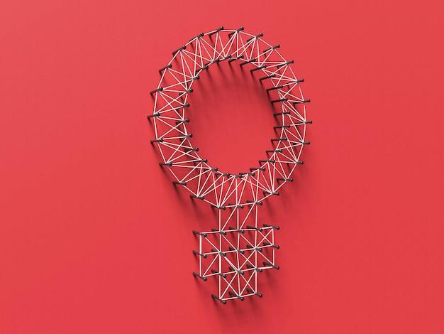 8 mars illustration 3d avec grand symbole féminin sur rouge. concept de la journée internationale des femmes.