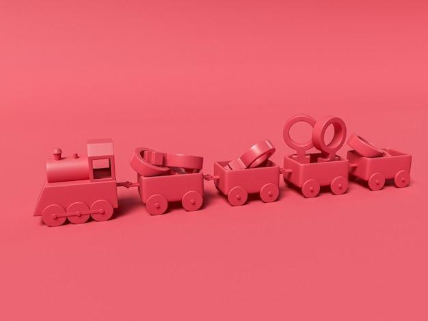 8 mars illustration 3d avec des symboles féminins dans un train. concept de la journée internationale des femmes. concept de la journée internationale des femmes.