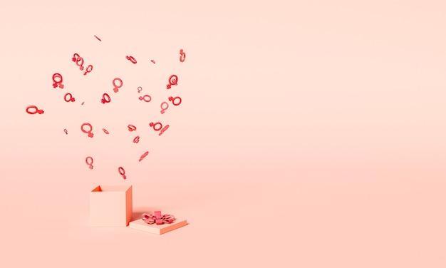 8 mars illustration 3d avec des symboles féminins sortant d'un cadeau ouvert. concept de la journée internationale des femmes.