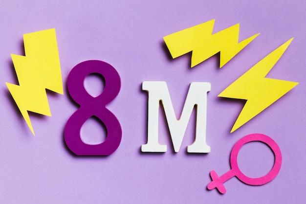 8 mars avec signe de genre féminin