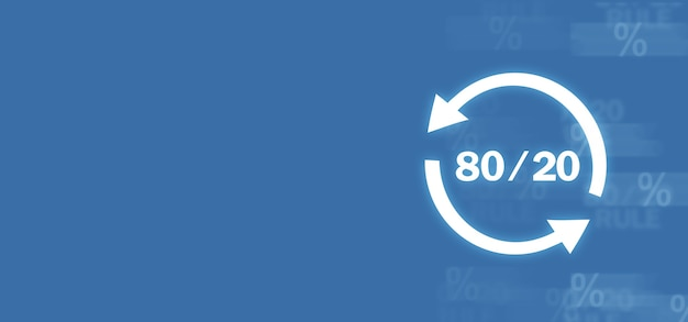 80/20. concept pour le principe de pareto. concept d'entreprise