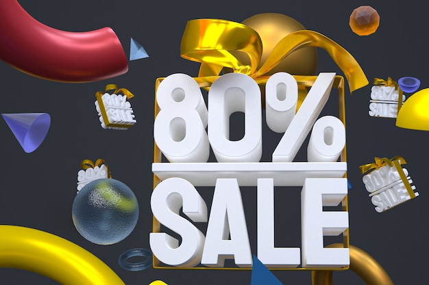 80% de vente avec arc et ruban 3d design sur fond de géométrie abstraite