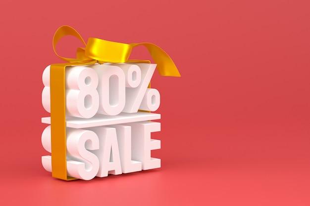 80% vente avec arc et ruban 3d design sur fond vide