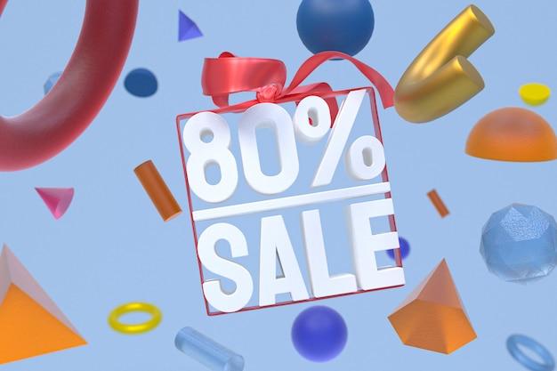 80% vente avec un arc et un ruban design 3d sur la géométrie abstraite