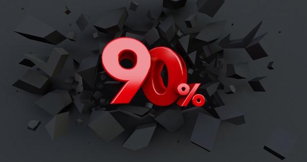 90 90% de vente. idée de vendredi noir. jusqu'à 90 pour cent.