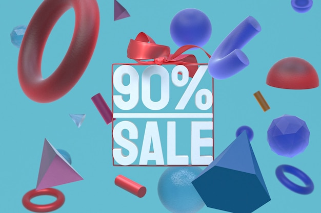 90% vente avec arc et ruban 3d design sur fond de géométrie abstraite