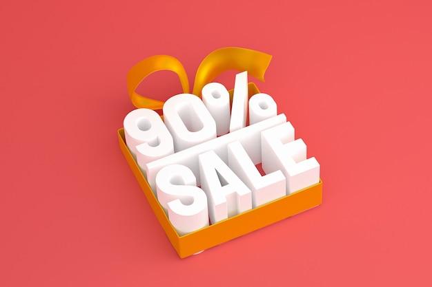 90% vente avec arc et ruban 3d design sur fond vide