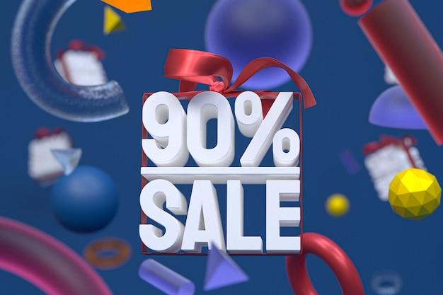 90% vente avec arc et ruban design 3d sur fond de géométrie abstraite