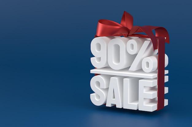 90% vente avec arc et ruban design 3d sur fond vide