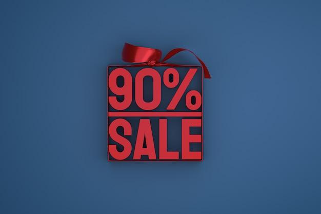 90% vente en boite avec ruban et noeud sur fond bleu