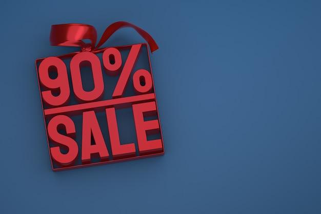 90% vente en boîte avec ruban et noeud sur fond bleu