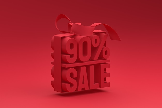 90% vente étiquette 3d en boîte avec ruban et noeud sur rouge