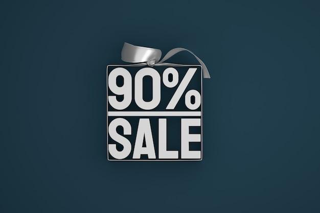 90% vente étiquette 3d dans une boîte avec ruban et noeud sur sombre