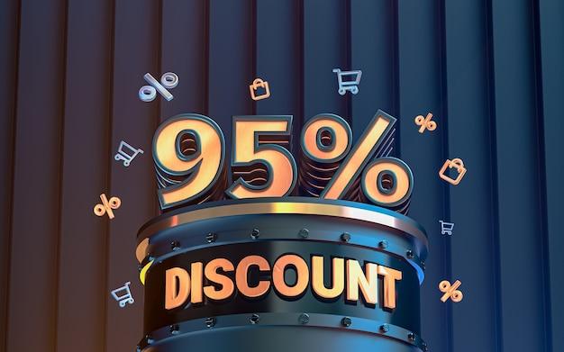 95 pour cent d'arrière-plan de remise d'offre spéciale pour le rendu 3d de l'affiche de promotion des médias sociaux