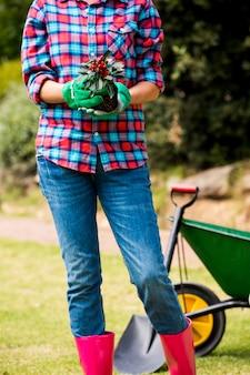 Abdomen de femme tenant une plante en pot