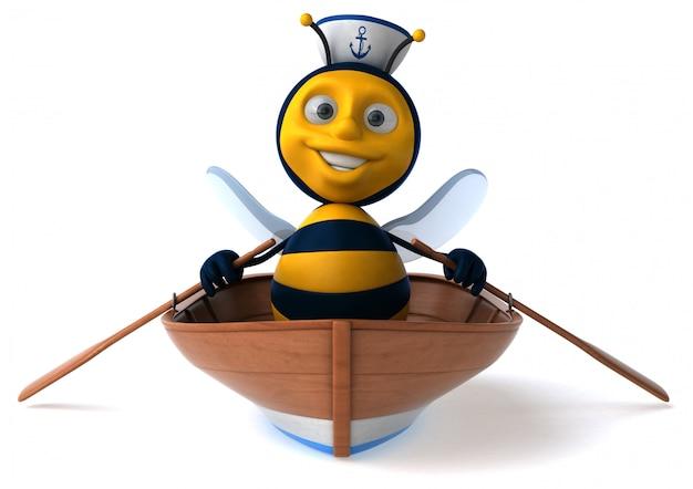 Abeille illustrée amusante dans un bateau avec un chapeau de marin aviron
