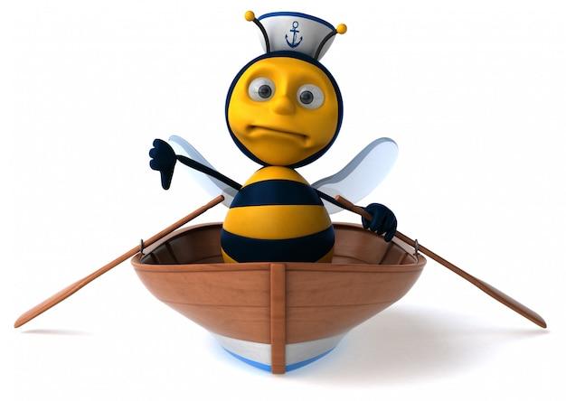 Abeille illustrée amusante dans un bateau avec un chapeau de marin montrant les pouces vers le bas