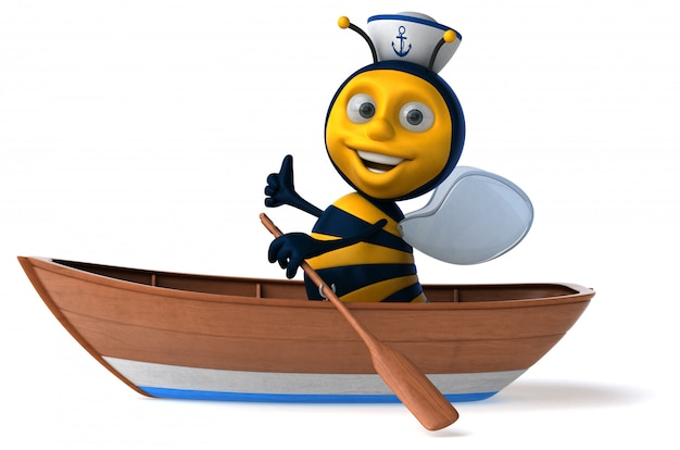 Abeille illustrée amusante dans un bateau avec un chapeau de marin montrant les pouces vers le haut