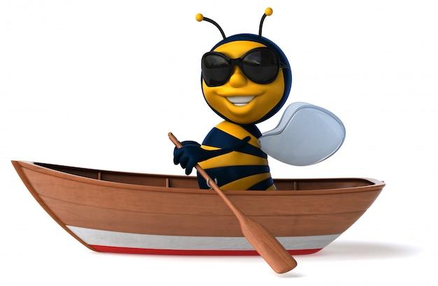 Abeille illustrée amusante dans un bateau avec des lunettes de soleil aviron