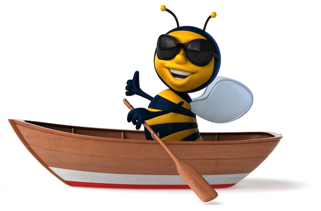 Abeille illustrée amusante dans un bateau avec des lunettes de soleil montrant les pouces vers le haut