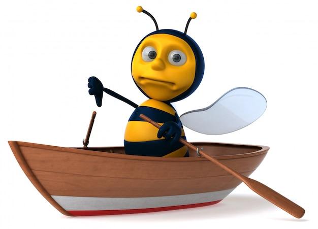 Abeille illustrée amusante dans un bateau montrant les pouces vers le bas