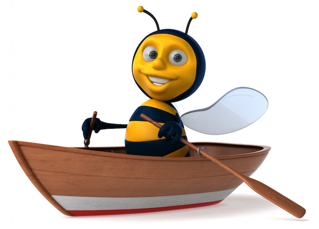 Abeille illustrée amusante dans un bateau à rames