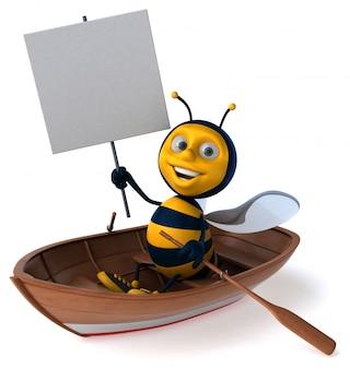 Abeille illustrée amusante dans un bateau tenant une pancarte