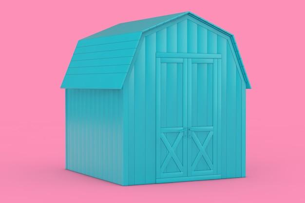 Abri de rangement bleu de petite maison pour outils de jardin en style bicolore sur fond rose. rendu 3d