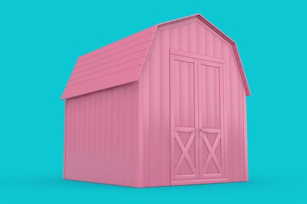 Abri de rangement de petite maison rose pour outils de jardin en style bicolore sur fond bleu. rendu 3d