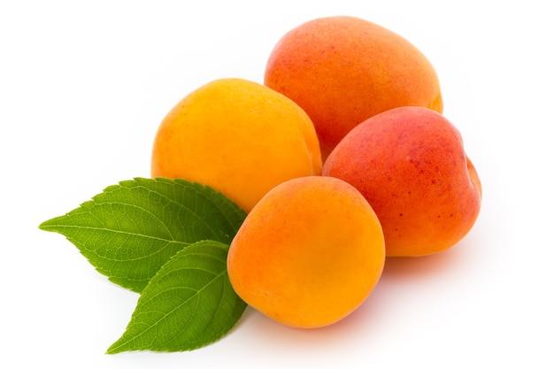 Abricots frais avec feuille