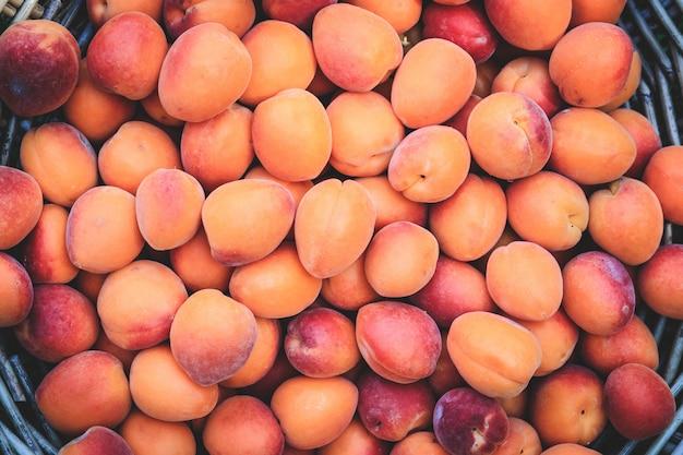 Abricots mûrs dans un panier en osier sur l'herbe verte