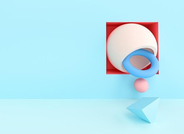 Abstract 3d render d'image d'une série d'objets aux couleurs pastel.