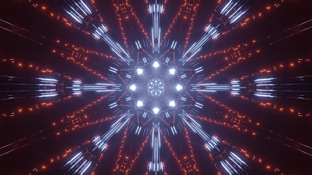 Abstract illustration 3d de lumières orange et bleues brillantes dans l'obscurité et formant un ornement abstrait
