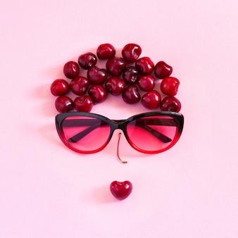 Abstract image jeune femme de bonbon et de lunettes. concept