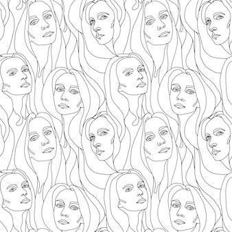 Abstract woman facesseamless pattern illustration de lignes graphiques de couleur blanche et noire