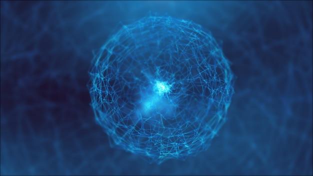 Abstraction bleue et chemins de connexion.