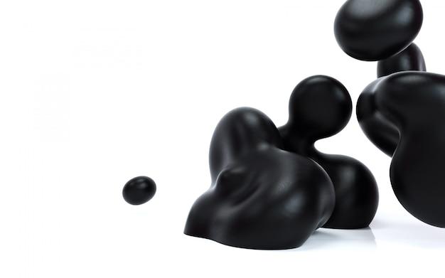 Abstraction liquide illustration de rendu 3d. bulles noires lisses sur fond blanc isolé.
