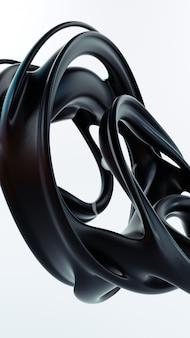 Abstraction liquide illustration de rendu 3d. matériel de caoutchouc lisse noir. forme plastique mat