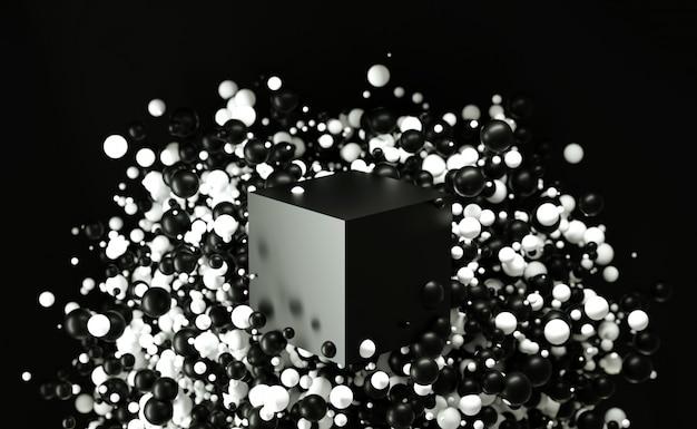 Abstrait 3d fait de bulles avec cube