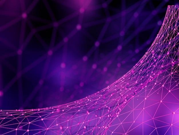 Abstrait 3d low poly, connexions réseau, technologie